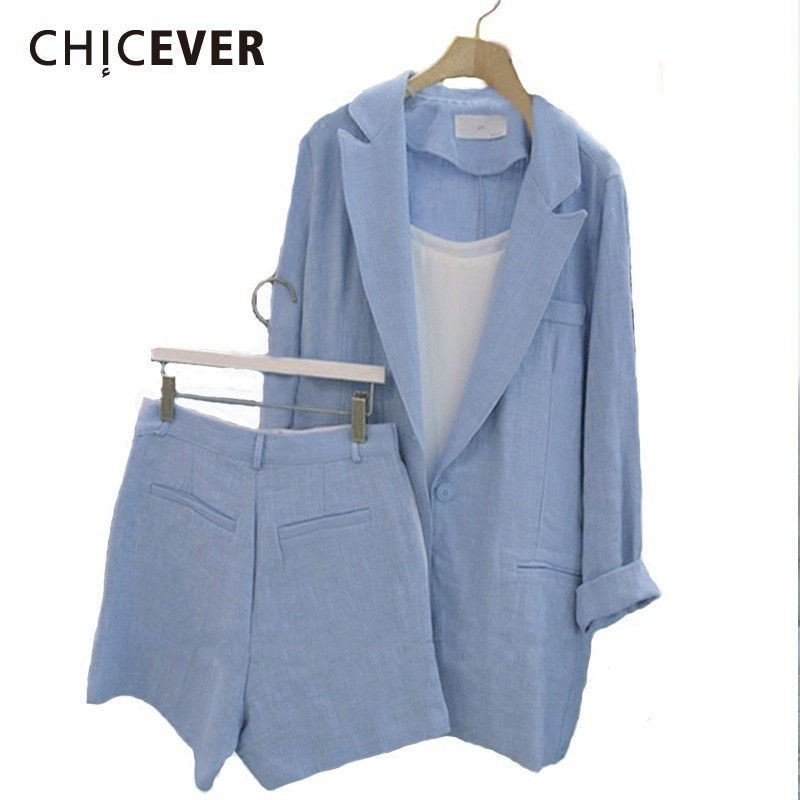 CHICEVER Casual Spring Women Two Piece Set Lapel Long Sleeve Blazer With Button Fly Pockets Shorts