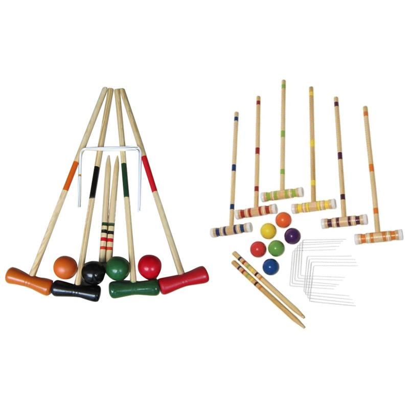 Croquet Set For 2-6 Players Mallet Middle Pole Benchmark Pole Ball Door Portable Wooden Sports Game Suit For Family Friends