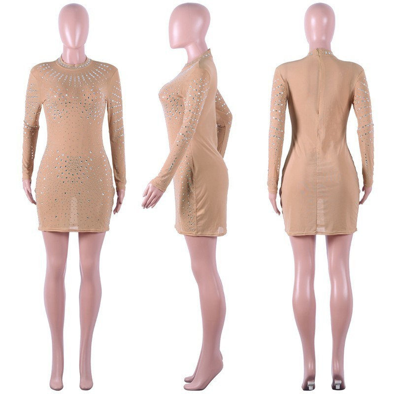 New Arrival Ladies Sexy Beading Mesh transparent Bodycon Bandage Dress  Women Vestidos Elegant Celebrity Party Dress plus size -in Dresses from  Women s ... f918b171c3d1