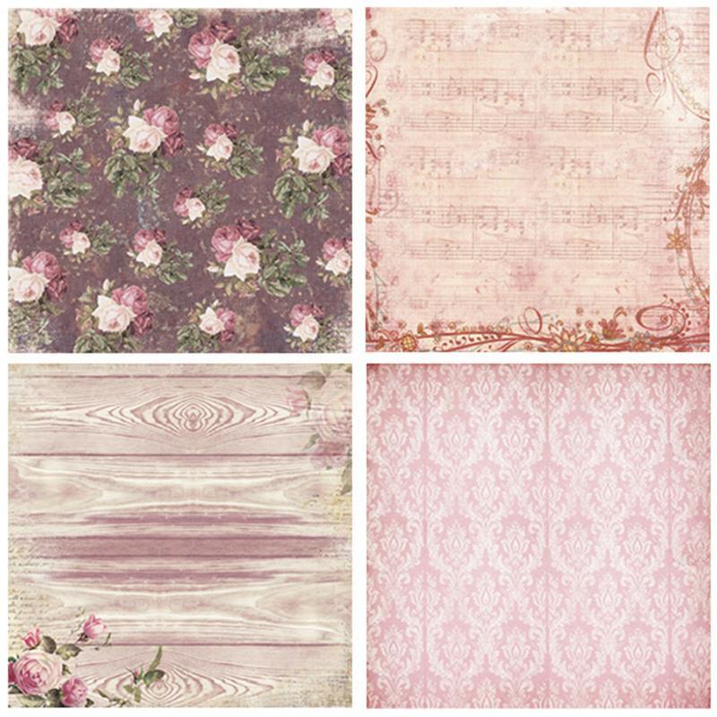 24PCs DIY Album Background Paper Scrapbook Background Paper Card Making Background Paper 6'' Single-Sided Pattern Paper