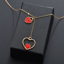 Double Heart With Heart Lock Pendant Necklace For Women Korean Trendy Romantic Heart Design Wedding Jewelry Necklace For Gifts rhinestone heart shape romantic necklace for women
