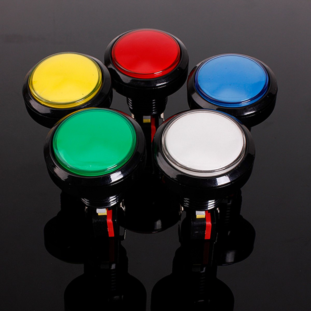 45mm Push Button Arcade Button Led Micro Switch 5V/12V Power Button Switch Set Green/Yellow/Red/White/Blue Coin Operated Games(China)