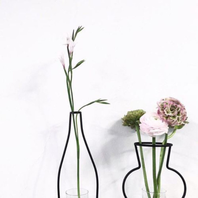 New Style Home Party Decoration Retro Iron Line Flowers Vase Metal Plant Holder Modern Solid Home Decor Nordic Styles Iron Vase 4