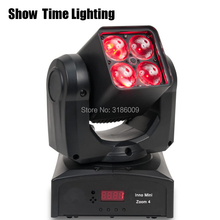 Mini Led beam moving head with zoom function 4pcs  RGBW 4 IN 1 adjust degree professional stage KTV DJ Party lite