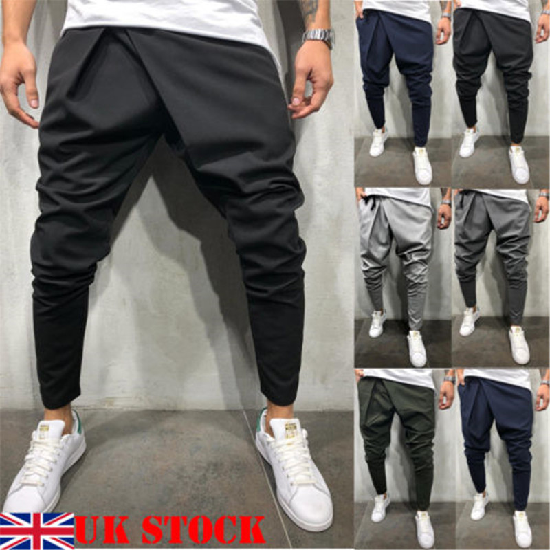 New Style Fashion Solid Men's Track Pants Slim Cuff Trousers Casual Tracksuit Casual Plain