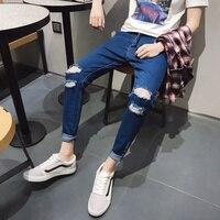 Verão Novas calças de Brim Dos Homens Magro Moda Ocasional Lavagem Com Lágrima Buraco Denim Calças Homem Streetwear Hip Hop Cowboy Calças Roupas Masculinas|Jeans|   -