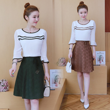 new 2019 summer chiffon top blouse & ruffled lace skirts suits 2 pcs clothing set women outfit vestido Korean fashion S-XXL Size