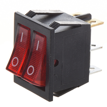 Red Light Illuminated 6 Pin Dual SPST ON/OFF Boat Rocker Switch AC 15A/250V 20A/125V 5pcs red round rocker switch illuminated light 3pin spst 2position on off 20mm snap in panel mount ac 10a 125v 6a 250v