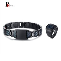 a06c328f35a6 Mens Bio Energy Bracelets And Rings Jewelry Sets Stylish Stainless Steel  With Black And Blue New. Pulseras y anillos de bioenergía para hombre ...