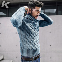 KUEGOU New Autumn Mens Thick Sweaters Turtleneck Blue Knitted Brand Clothing Man's Slim Knitwear Male Knitting Pullovers 17021