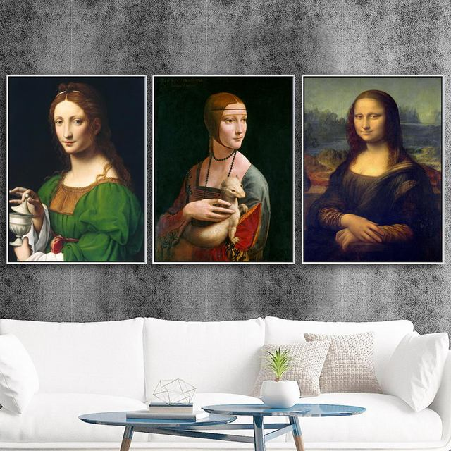 Casa decoración lienzo arte pared cartel lienzo de impresión pinturas Italia Leonardo Da Vinci de la Mona Lisa