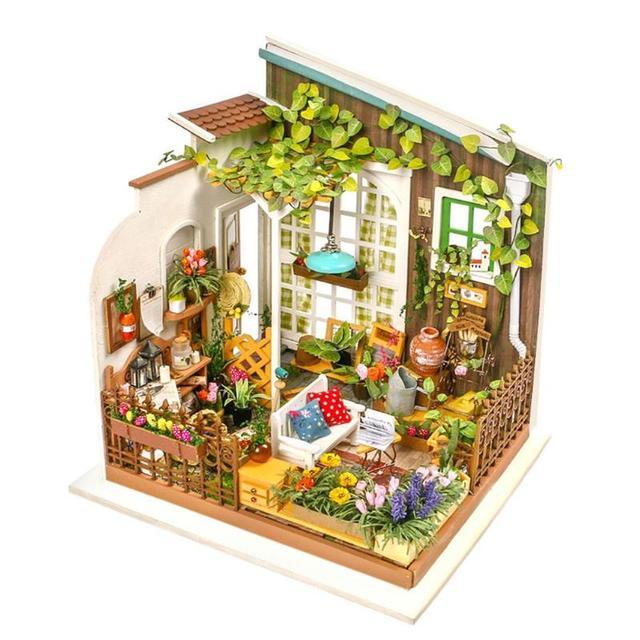 DIY Model Wooden Handmade Building Blocks Miniature 3D Doll House Furniture Gift Toys Wooden Miniature Doll House DIY Dollhouse