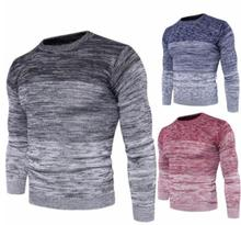 2018 spring and autumn and winter new men's gradient sweater men's round neck slim pullover sweater  man warm clothes oversize
