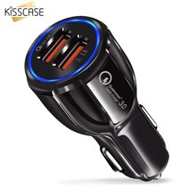 KISSCASE QC 3.0 Fast Charging Adapter Dual For Xiaomi Mi9 Redmi Note 7 USB Car-Charger For Samsung S10Plus Micro Type C Chargers(China)