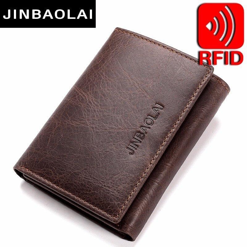282301642d2003 Offerte RFID Blocco della carta di Portafogli In Vera Pelle 3 Volte Breve  Maschio Portafogli In Pelle Frizione del Supporto di Carta di Credito  Carteira ...
