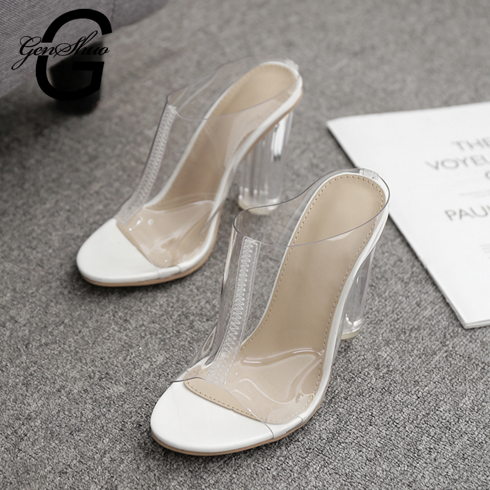 2cb39ae6855 US $23.32 40% OFF GENSHUO Transparent Slippers Women Open Toe Crystal  Slides Shoes Female Block Chunky High Heels Mules Shoes Woman Jelly  Shoes-in ...