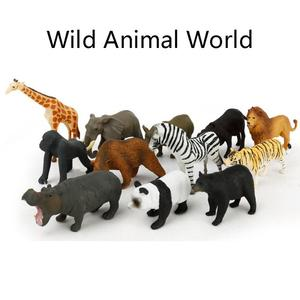 Image 2 - 12Pcs Simulated Wild Animals Model Toy Doll Lion Zebra Panda Orangutan Giraffe Rhinoceros Tiger PVC Action Figure Hot Set Toys