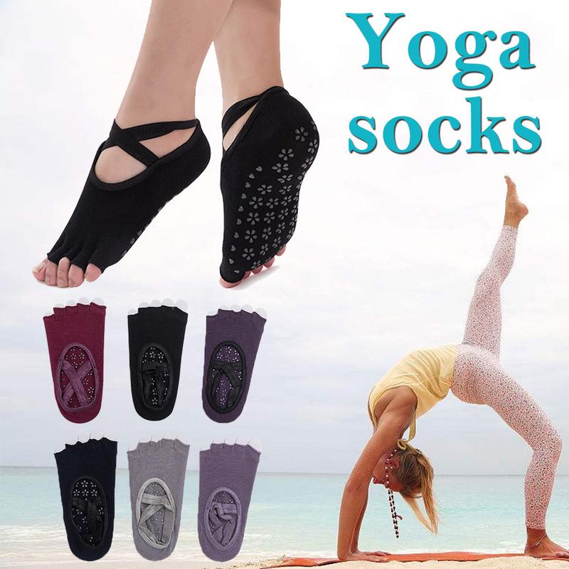 Backless Cross Strap Yoga Socks Non-slip Sports Socks Ballet Socks Fingers Socks