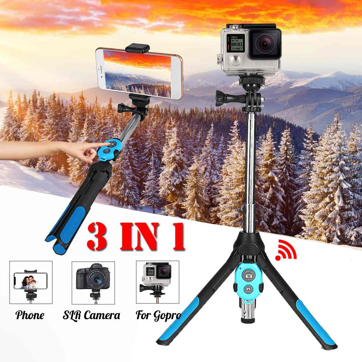 Mini Foldable 3In1 Selfie Stick Tripod Monopod Bluetooth Distant For Iphone X For Samsung For Gopro Right here 5 four Sport Digicam Holder