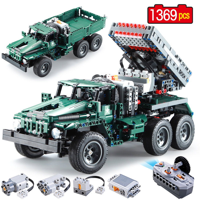 1369 pièces 2in1 RC lance-roquettes camion voiture Legoings technique militaire ville voiture puissance fonction MOC blocs de construction briques jouets
