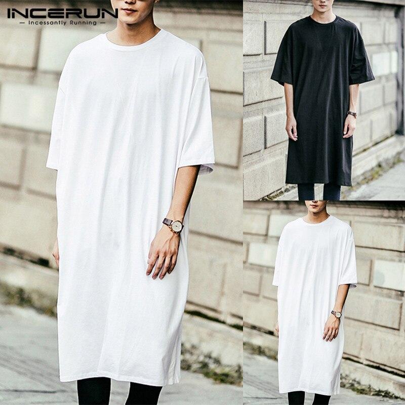 5f7967333391 Streetwear Hiphop Mens Kurta Dress T Shirts Short Sleeve Loose Long Tee Muslim  Arab Thobe Islamic