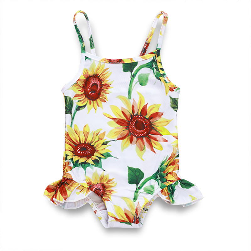 2019 Lovely Toddler Kid Baby Girls Bikini Sunflower One Piece Suits Lace Up Swimwear Swimsuit Beachwear Bathing Suit P30 in Children 39 s One Piece Suits from Sports amp Entertainment