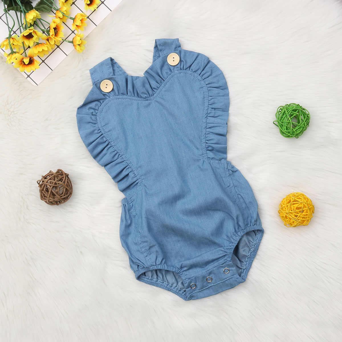 32e891e800 ... 2019 Brand New Infant Kids Baby Girls Denim Bodysuits Heart Shape  Ruffles Backless Sunsuit Solid Blue