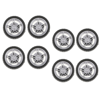30mm Silver Plastic Wheel Rim & Tyre Tires for RC Racing Car, Pack of 10 image