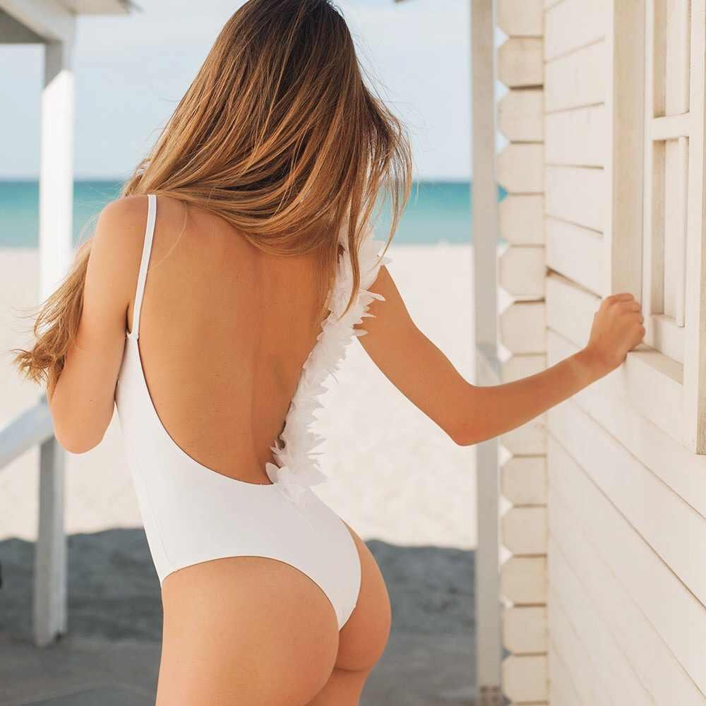 099dca1667b99 ... Adriana Arango 2019 One Piece Swimsuit White Stretch Swimwear 3D Flower  Designed Backless Monokini Summer Beachwear ...