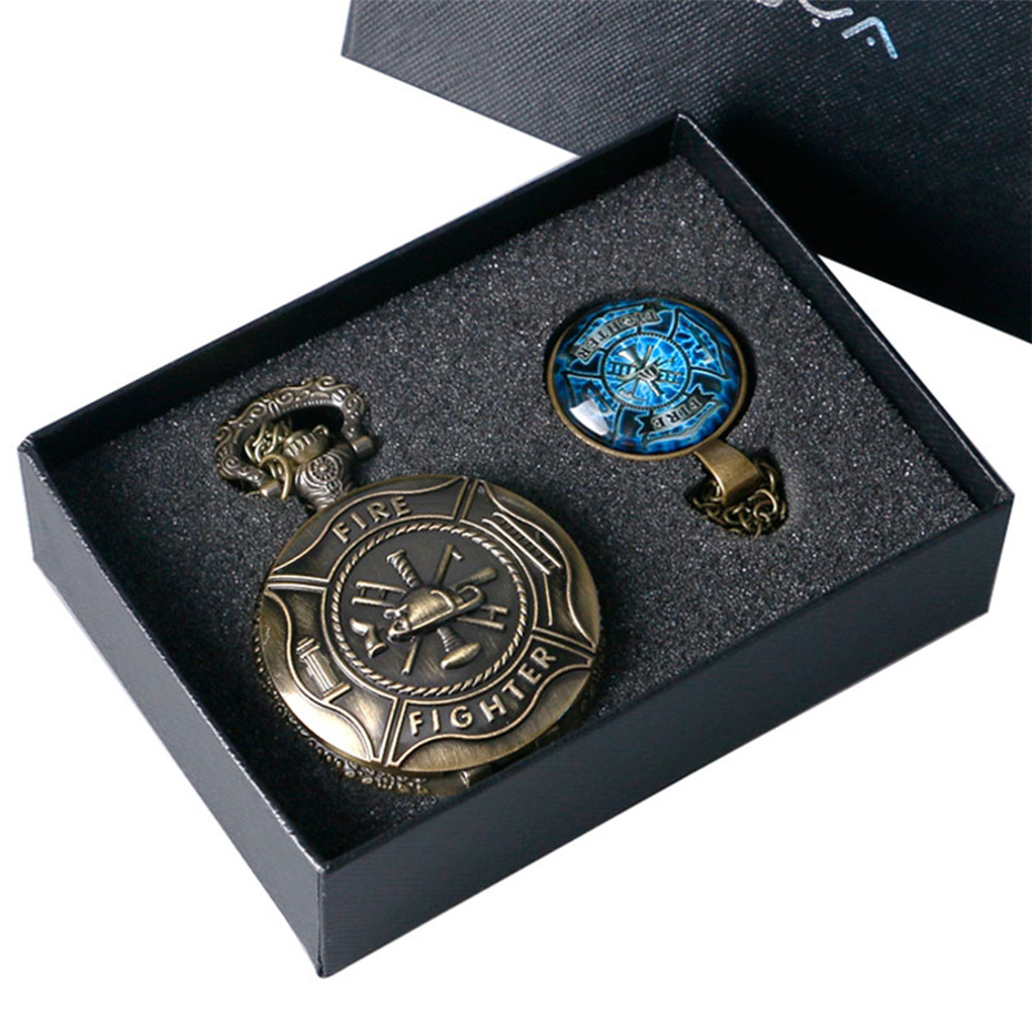 Bronze Christmas Gift Pocket Watch Set for Men Fire Fighter Control Quartz Pocket Watch Necklace Chain for Dad Husband
