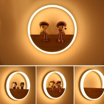 LED Wood Round Wall Lamps Acrylic Modern Home Decor Lamps Bedroom Bedside Living Room Restaurant Corridor Wall Lamps