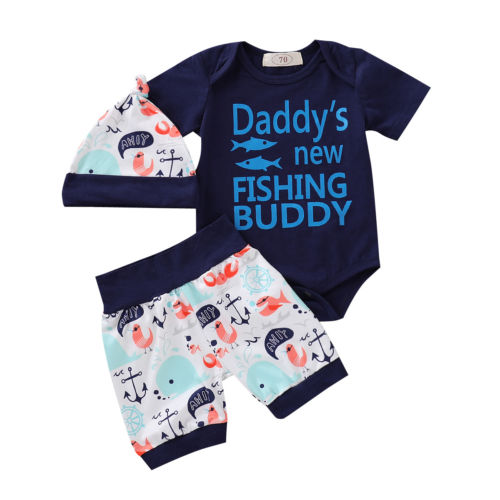 427bdd6f3e26 3Pcs Summer Toddler Baby Boy Daddy s New Fishing Buddy Outfit Set Short  Sleeve Bodysuit Romper Top
