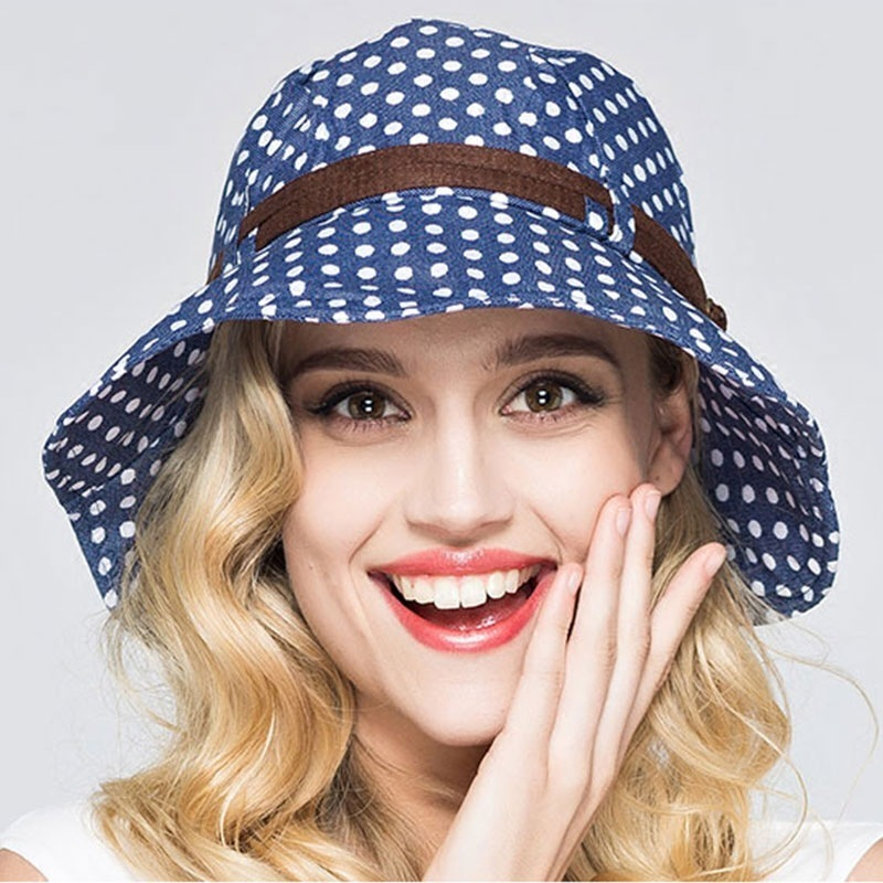 Delicious Woman Summer Sun Cap Beach Anti-uv Wide Brim Foldable Fisherman Hat Ladies Fashion Cotton Dot Bucket Hats Traveling Women's Bucket Hats