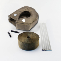 T3 Turbo Heat Shield Blanket Cover W/ 5cmX5m Titanium Manifold Downpipe Wrap