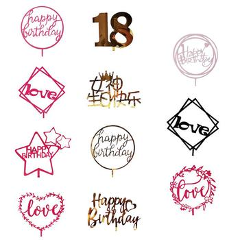 Glitter Acrylic Happy Birthday Cake Topper Food Safe Acrylic Cake Flags Birthday Cake Supplies Party Event Decorations