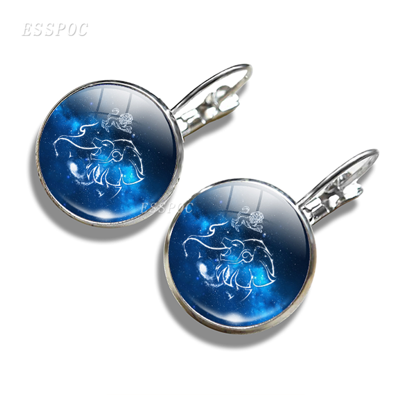 Logical 12 Constellation Leo Virgo Gemini Hook Earrings Glass Cabochon Pendant Zodiac Sign Earrings Jewelry Birthday Gift For Women Girl At Any Cost Jewelry & Accessories Earrings