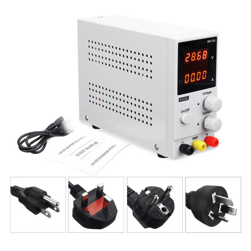 EU/UK/AU/US DC Power Supply Variable 0 30V/ 0 10A 110V/220V Adjustable Switching Regulated Power Supply Dual Display LW K3010D