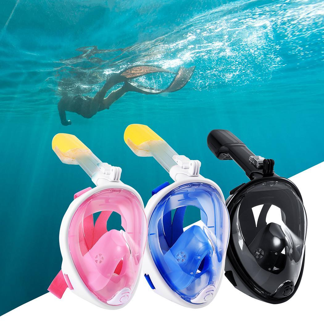 Swimmer Full Face Diving Mask Underwater Swimming Anti Fog Scuba Snorkeling Mask with Anti-skid Ring Earplug for Gopro Camera