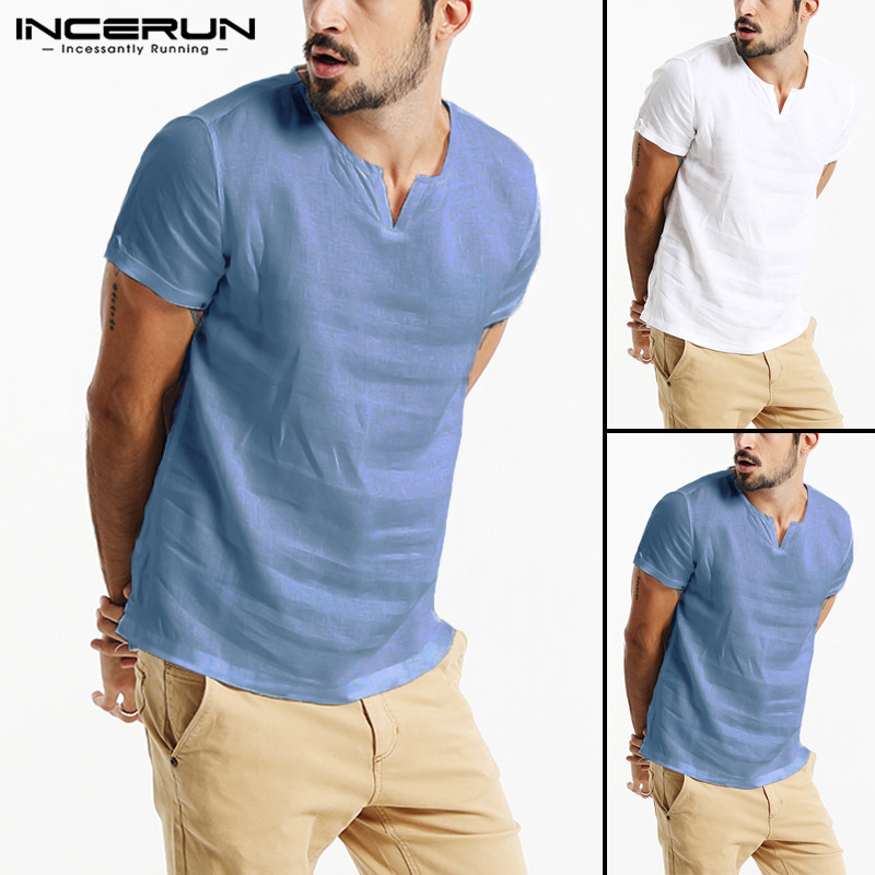 INCERUN 2019 Summer Streetwear Cotton Men T Shirt V Neck Short Sleeve Leisure New Brand Casual T-shirt Fashion Camisetas Hombre