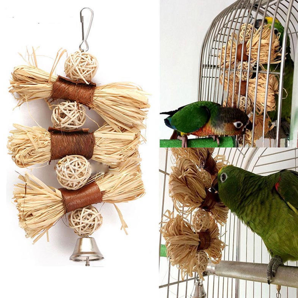 Natural Chews Toy For Pet Bird Parrot Macaw African Grey Budgie Parakeet Cockatiels Conure Lovebird Bites Swing Cages Toys