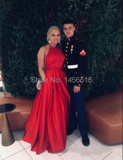 Menoqo Royal Blue Evening Dresses Long Satin Beaded Halter Prom Party Gown Vestidos De Festa Robe De Soiree Abendkleider 2018