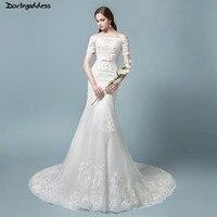 Vestidos de NoviaElegant Mermaid Wedding Dresses 2018 Off Shoulder Vintage Lace Mermaid Wedding Dresses Short Sleeve Bridal Gown