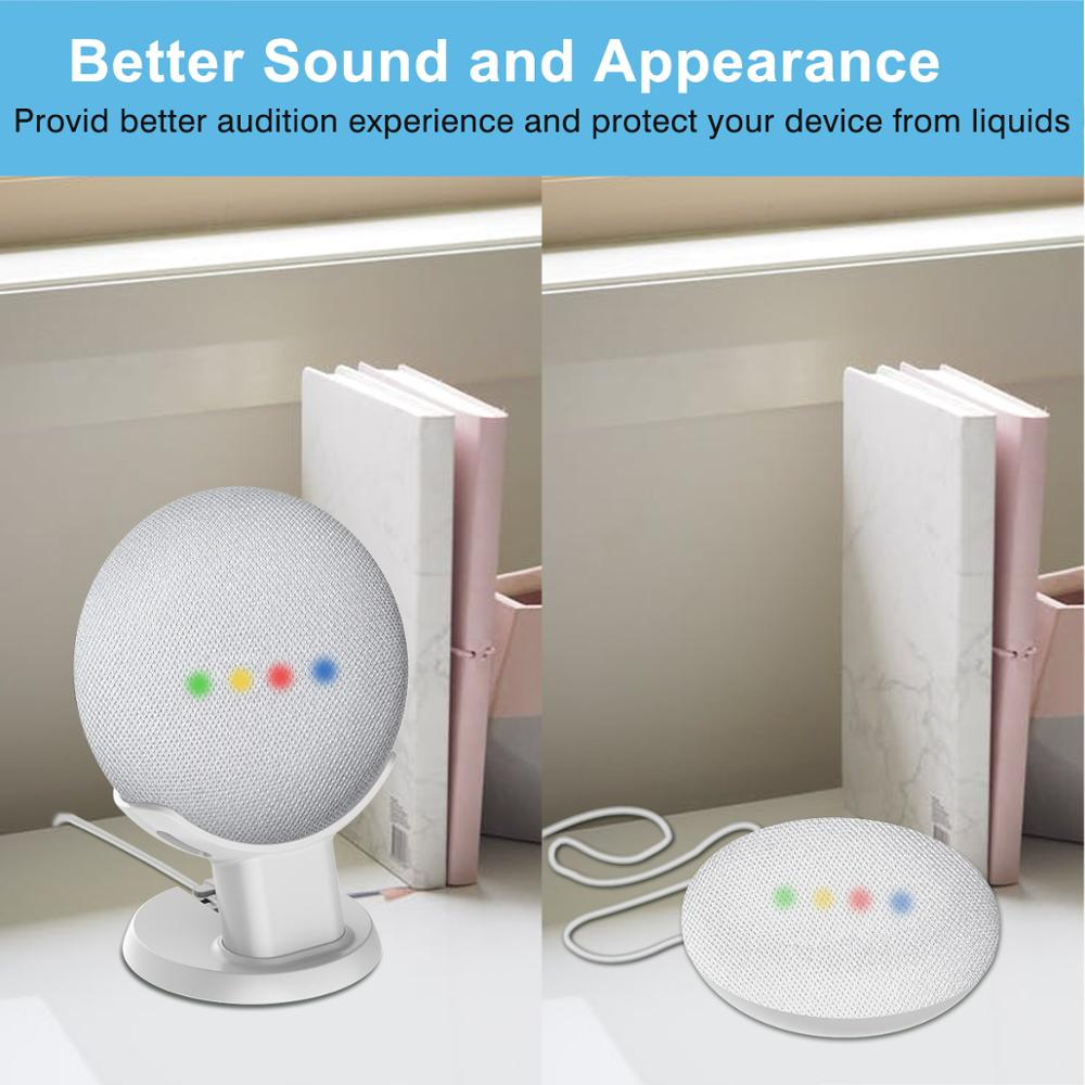 Image 4 - For Google Home Mini Desktop stand table holder Voice Assistants Compact Holder Case Plug in Kitchen Bedroom Study Audio Mount-in Speaker Accessories from Consumer Electronics