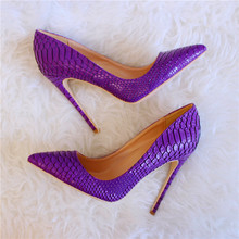 Hot Selling Purple Snake Skin Leather Pumps Women Shoes Customized Pointed Toe High Stiletto Heels Ladies Shoes 12cm Slip-on purple shoes snake 2018 slip on high heels pumps 12cm mixed colors shallow stilleto big size office shoes women phoentin ph040