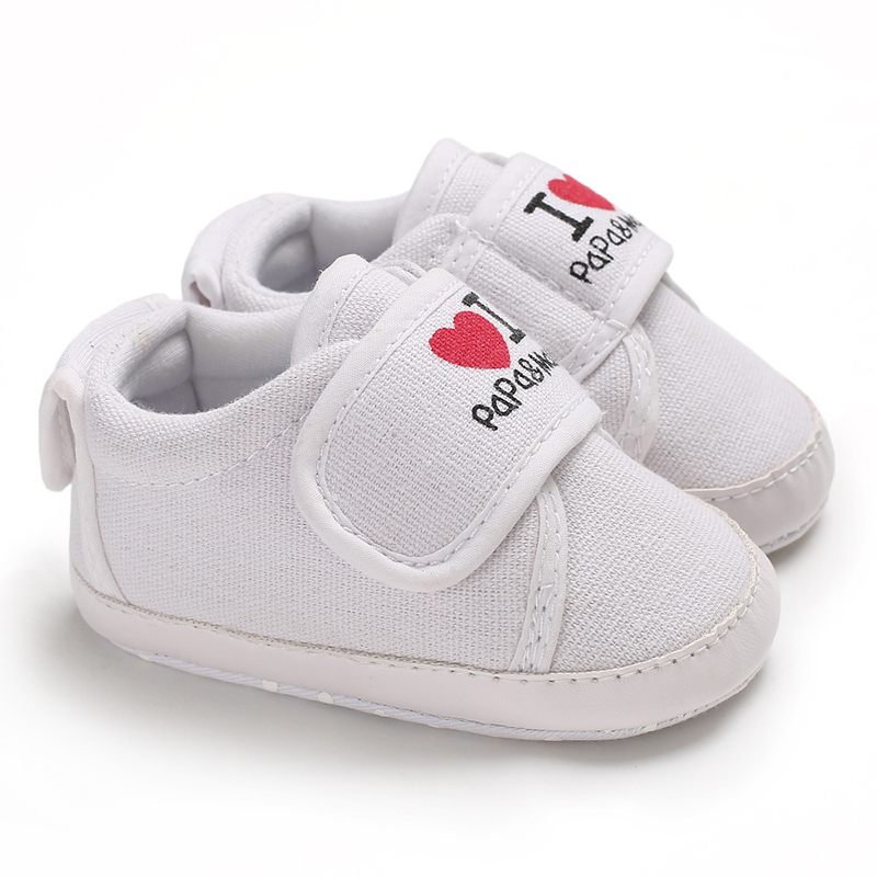 Baby Shoes Kids Newborn Infant Baby Sneaker Anti-slip Letter Heart Print Soft Sole Toddler Shoes I Love Dad&momo