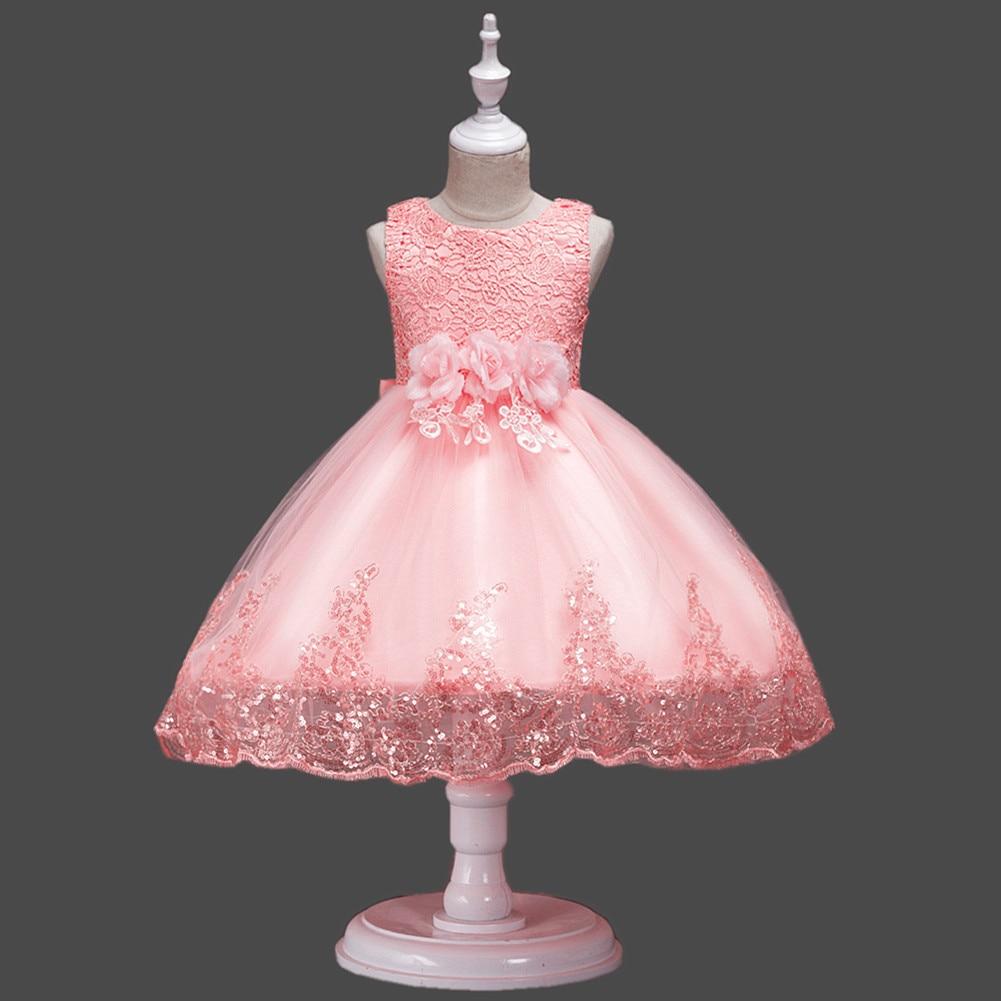 Appliques Lace   Flower     Girl     Dresses   Sleeveless Ball Gown O-Neck Floorl-Length Pretty   Flower     Girl     Dresses   For Wedding