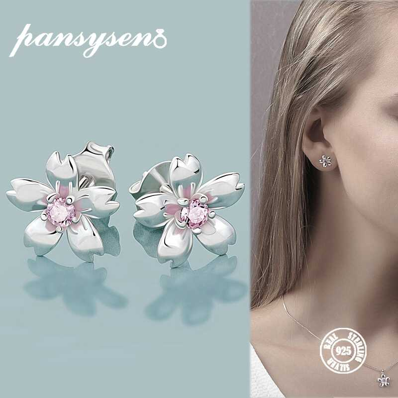 PANSYSEN 100% Sterling Silver 925 Stud Earrings for Women Fine Jewelry Flower Design New Elegant Wedding Birthday Earring Gifts
