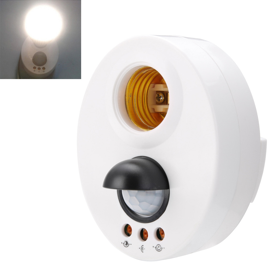 E27 Infrared Holder Switch Motion PIR Sensor Ceiling Lamp Head Adjustable Delay Wall Light Lamp Holder Switch Light Base