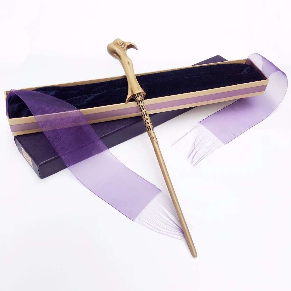New Arrive Metal Iron Core Lord Voldemort Wand Harri Potter Magic Magical Wand Elegant Ribbon Gift Box Packing Cosplay Prop Costume Props