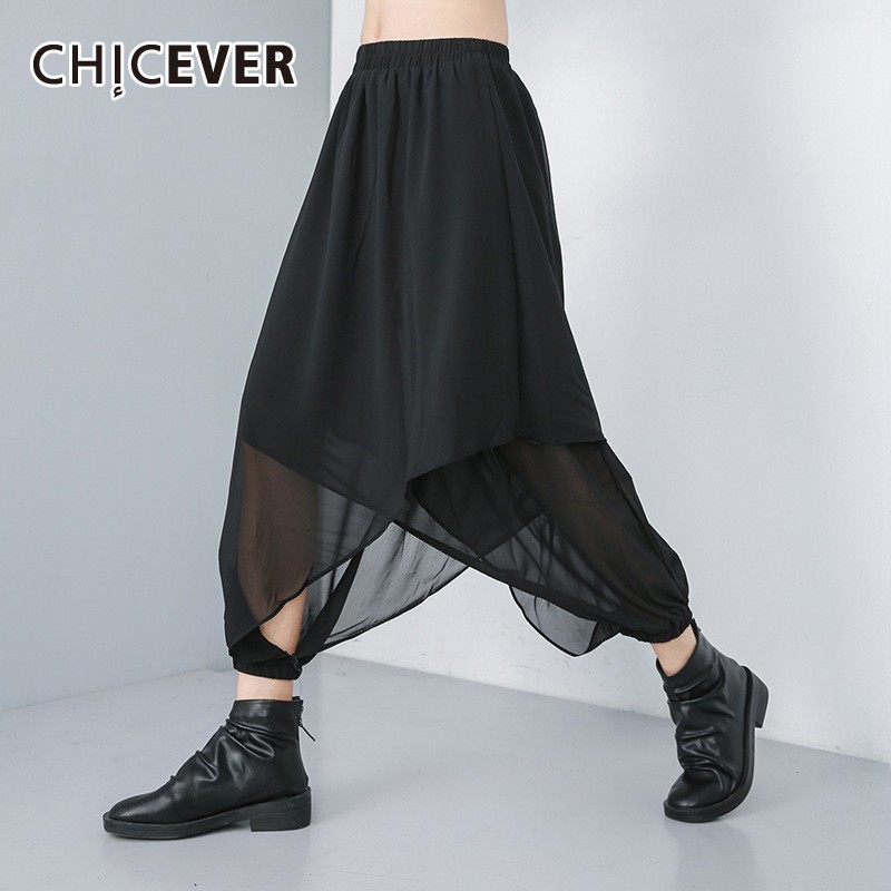 CHICEVER Summer Elastic Waist Irregular Women Chiffo Black   Pants   High Waist Loose Plus Size Ankle-length   Wide     Leg     Pants   2019 New